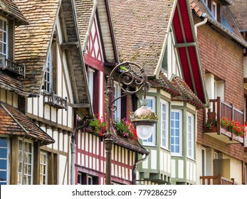 Deauville, Normandy, France. Typical architectural Building. With its race course, harbour, international film festival, marinas, conference centre, villas, Grand Casino and sumptuous hotels.