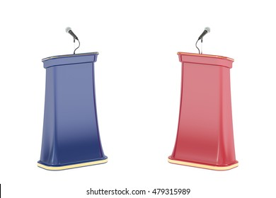 Debate concept with microphones and tribunes, 3D rendering isolated on white background