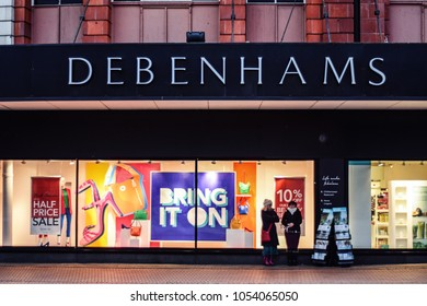 Debenhams - department store's facade. Bournemouth, Dorset, United Kingdom. 17 March 2018.