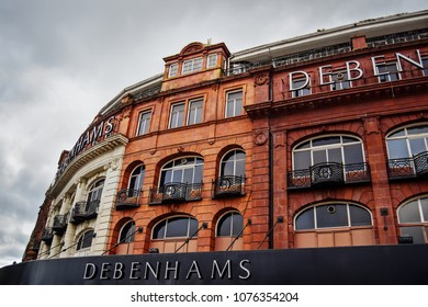 Debenhams - department store's facade. Bournemouth, Dorset, United Kingdom. April 23, 2018.