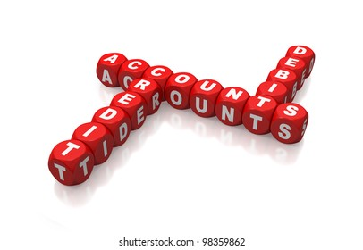 Debit, credit and Accounts as a crossword on red dice or cubes on white background