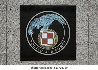 DEBLIN. POLAND. 07 NOVEMBER 2014 : Coat of arms of Polish Air Force in Deblin. Poland