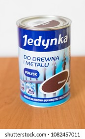 Deblin, Poland - April 18, 2018: Jedynka paint in mahogany color.