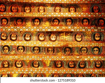 Debre Birhan Selassie Church, or Church of the Mount of the Trinity of the Light, Gondar, Ethiopia. Detail of the ceiling. Angel paintings