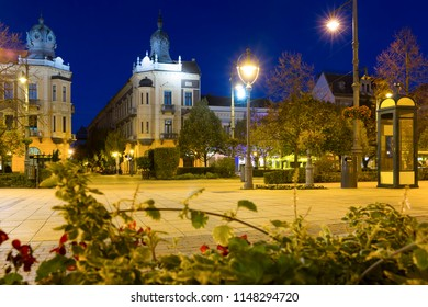 Debrecen central streets with impressive architecture at night, Hungary