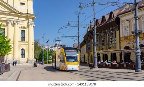 Debrecen Hungary 04 19 2019 tram passes through Kossuth Square in Debrecen