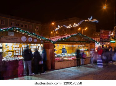 DEBRECEN. HUNGARY. 22 DECEMBER 2017 : Holiday decorations of Piac street in Debrecen. Hungary