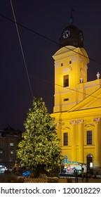 DEBRECEN. HUNGARY. 22 DECEMBER 2017 : Holiday decorations of Kossuth square in Debrecen. Hungary
