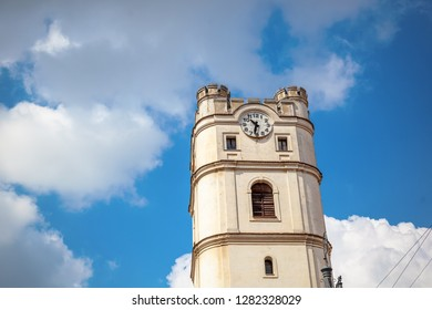 Debrecen, Hungary. Ancient clock tower against blue sky