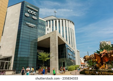 DEBRECEN, HUNGARY - AUGUST 23, 2014: Forum Debrecen Shopping Mall, one of the biggest shopping mall in town is located downtown the historical center of Debrecen city.