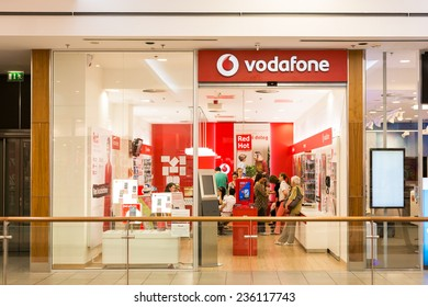 DEBRECEN, HUNGARY - AUGUST 23, 2014: Vodafone Store is the world's second largest mobile telecommunications company headquartered in London.