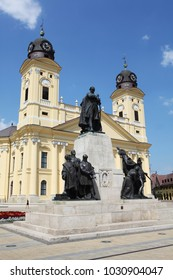 DEBRECEN, HUNGARY - Jul 31, 2016: Kossuth square with Protestant Great Church (Hungarian: Reformatus Nagytemplom) on the background in Debrecen city, Hungary