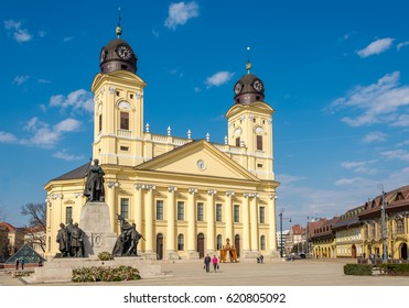 DEBRECEN, HUNGARY - MARCH 22,2017 - Great church at the place of Kossuth in Debrecen.  Debrecen is the regional centre of the Northern Great Plain region.