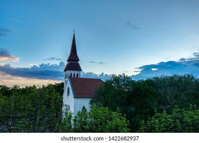 Debrecen, Hungary - May 14, 2019: Reformed Church in a beautiful sunset.