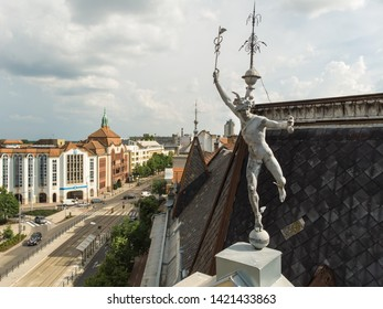 Debrecen / Hungary - May 29 2018: Antique sculpture on the roof