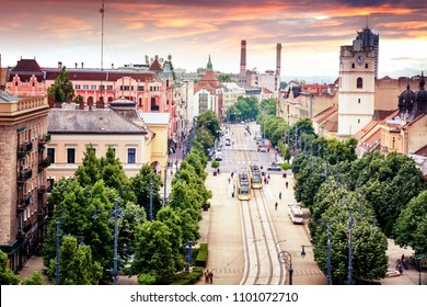 Debrecen, Hungary, view of the city from the top of the Reformed Cathedral, beautiful cityscape