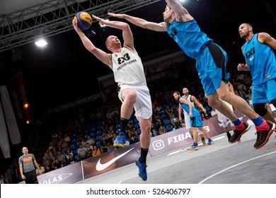 DEBRECEN - SEPTEMBER 8 : FIBA 3X3 Basketball World Tour Masters - Player Marko Savic - Streetball in the center square september 8, 2016 Debrecen Hungariya