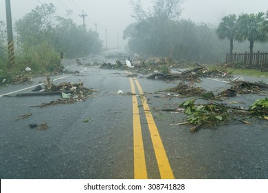 Debri blocking road during a typhoon