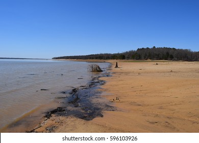 Debris along the shoreline of Enid Lake in Mississippi