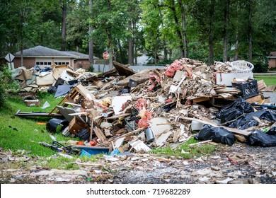 Debris from inside homes hit by Hurricane Harvey