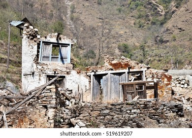 Debris from living house during an earthquake in Nepal