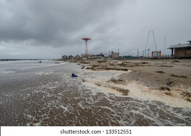 Debris washed ashore at Coney Island by hurricane Sandy.