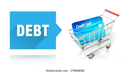 Debt concept with credit card and shopping cart