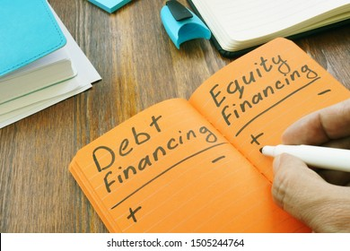 Debt Financing vs Equity Financing sign in the note.