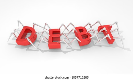 Debt Money Owed Loan Obligation Spiders Insects 3d Illustration
