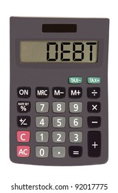 debt on display of an old calculator on white background