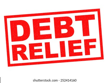 DEBT RELIEF red Rubber Stamp over a white background.
