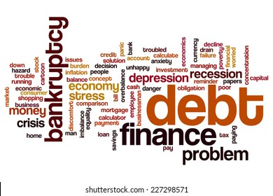 Debt word cloud concept
