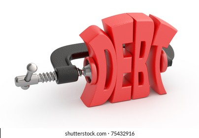 Debt word in clump. Debt reduction concept.