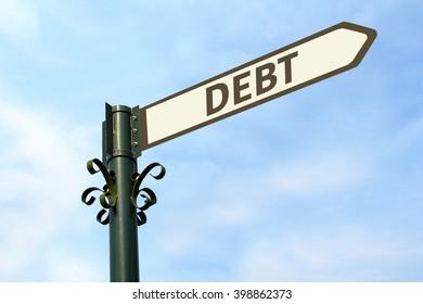DEBT WORD ON ROADSIGN