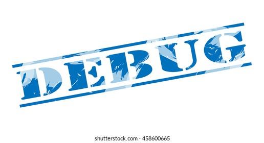 debug blue stamp on white background