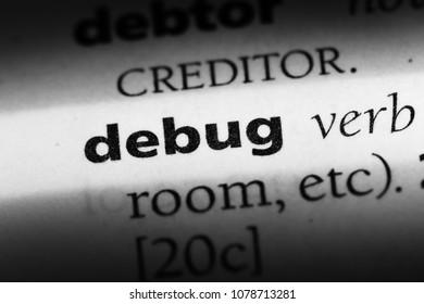 debug word in a dictionary. debug concept