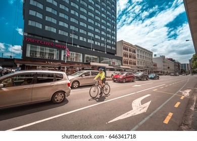 Dec 03, 2016 - Customs Street, Auckland, New Zealand : Street view of Auckland City in a sunny Saturday.