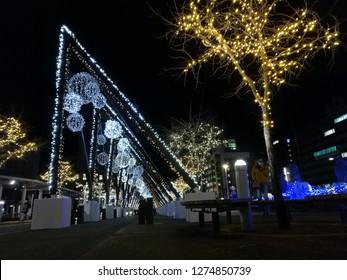 Dec 05 2018: Hakodate, Japan: Night light and illumination at Hakodate train station. Christmas street light at Hakodate, Hokkaido, Japan