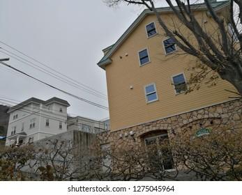 Dec 05 2018: Hakodate, Japan: Cityscape beautiful house at Hakodate, Hachimansaka Dori and Hill. near Red Brick Warehouse, Christmas street at Hakodate, Hokkaido, Japan