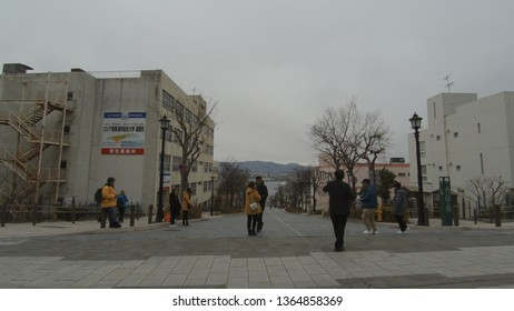 Dec 05 2018: Hakodate, Japan: tourist at Hakodate, Hachimansaka Dori and Hill. near Red Brick Warehouse, Christmas street at Hakodate, Hokkaido, Japan