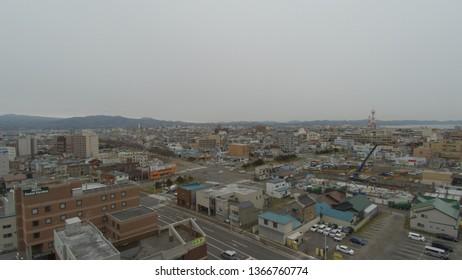 Dec 05 2018: Hakodate, Japan:arial view Cityscape  at Hakodate, Hachimansaka Dori and Hill. near Red Brick Warehouse, Christmas street at Hakodate, Hokkaido, Japan