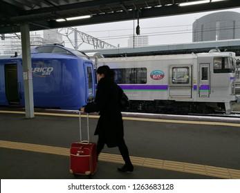 Dec 07 2018: Hokkaido Japan: Super Hokuto Limited Express on the Hakodate Line. Heavy snow and raining storm at Sapporo, Hokkaido Japan.