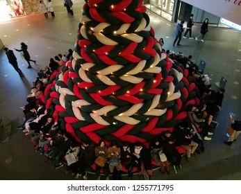 Dec 08, 2018: Tokyo Japan: big Christmas tree and lighting with Christmas illumination event at Roppongi, Tokyo Japan.