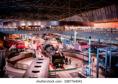 DEC 10, 2012 Saitama, JAPAN - Old locomotive train models exhibits in railway museum of Omiya.