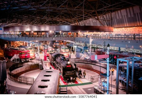 DEC 10, 2012 Saitama, JAPAN - Old locomotive train models exhibits in railway museum of Omiya.