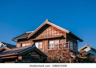 DEC 11, 2012 Katori, Chiba, JAPAN - Old vintage wooden Japanese house in Sawara village, famous Edo old town near Tokyo.