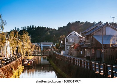 DEC 11, 2012 Katori, Chiba, JAPAN - Old vintage wooden Japanese house and Onagawa river in Sawara village, famous Edo old town near Tokyo.