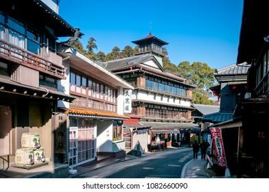DEC 12, 2012 Narita, Chiba, JAPAN - Narita Omotesando shopping street with souvenir shops and restaurants. Leading to Narita san Shinsho ji temple
