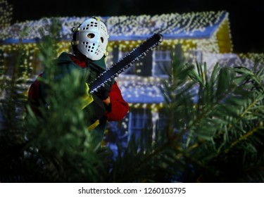 DEC 16 2018: National Lampoons Christmas Vacation Clark Griswold action figure recreating a scene from the holiday cult classic movie. Figure by Neca.