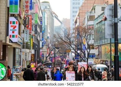 Dec 17, 2016 Myeongdong Shopping Street in Seoul city, Korea